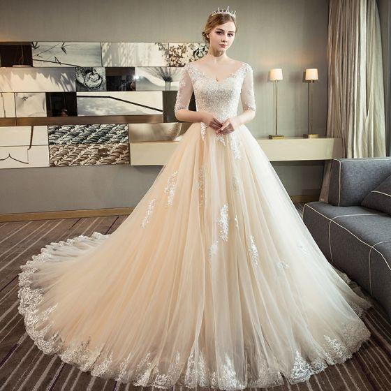 Elegante Champagner Brautkleider 2018 Ballkleid V-Ausschnitt 1/2 Ärmel Rückenfreies Applikationen Mit Spitze Pailletten Perle Rüschen Kathedrale Schleppe