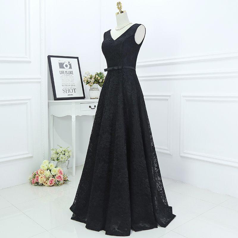 Classic Black Formal Dresses 2017 A-Line / Princess Lace Flower Bow V-Neck Sleeveless Floor-Length / Long Evening Dresses