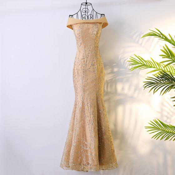 Elegant Gold Formal Dresses 2017 Trumpet / Mermaid Glitter Off-The-Shoulder Floor-Length / Long Evening Dresses