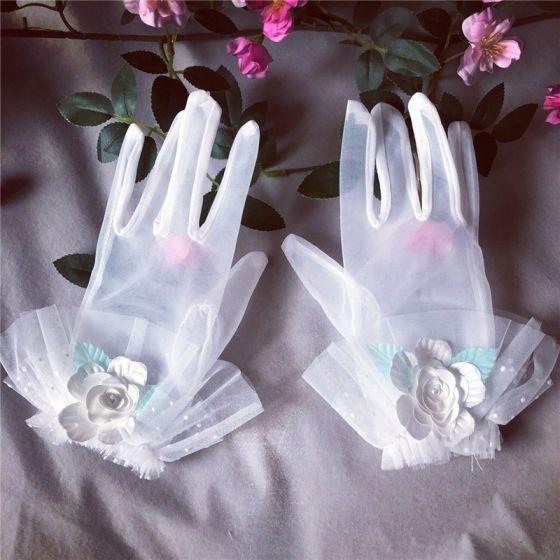 Wróżka Kwiatowa Białe Rękawiczki Ślubne 2020 Aplikacje Kwiat Tiulowe Bal Ślub Akcesoria