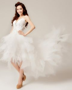 Satin Tulle Feather Sweetheart Tiered Asymmetrical Length High Low Mini Wedding Dress
