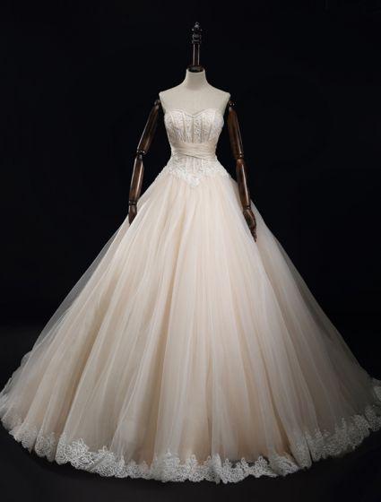 2016 Lyx Utsökta Handgjorda Korsett Spets Bröllopsklänning Med Avslutande