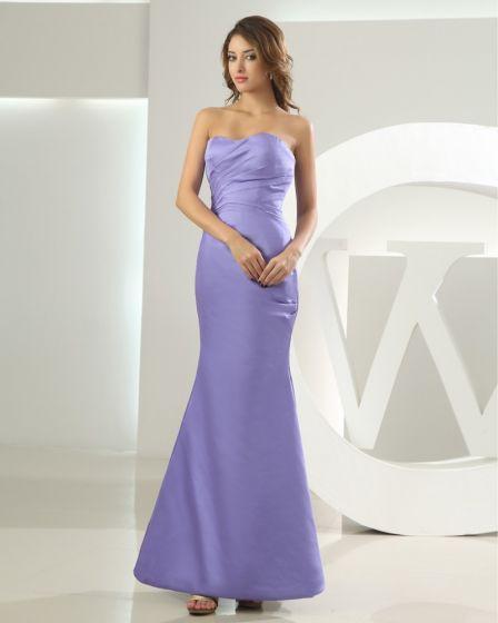 Silk Satin Sweetheart Ruffle Sleeveless Backless Zipper Floor Length Mermaid Bridesmaid Dress