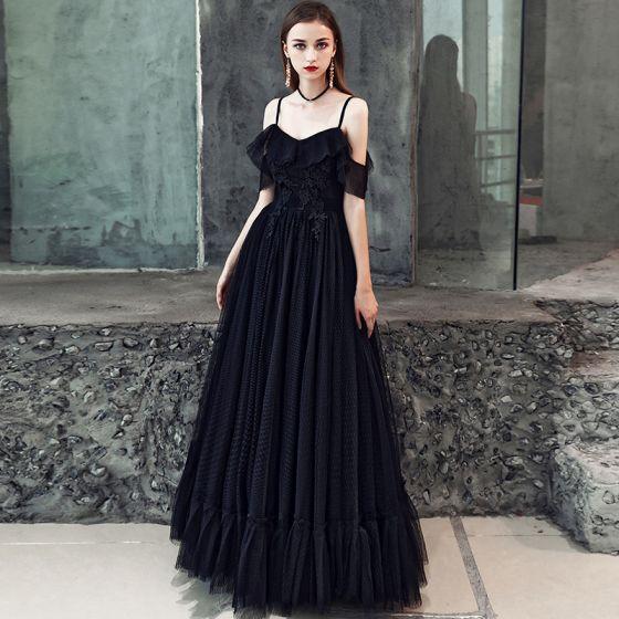 Prisvärd Svarta Balklänningar 2019 Prinsessa Spaghettiband Korta ärm Appliqués Spets Långa Ruffle Halterneck Formella Klänningar