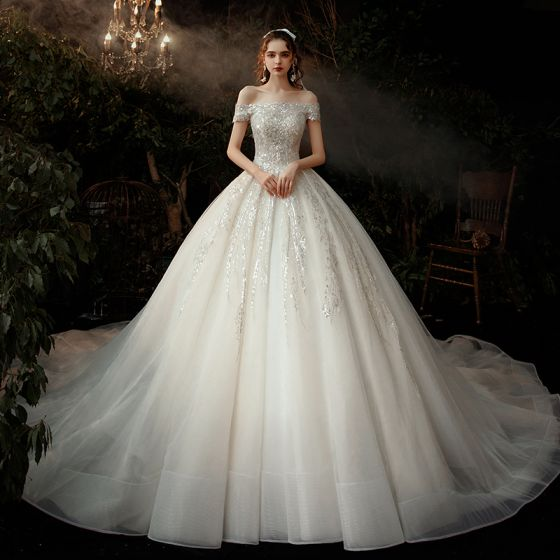 Chic / Beautiful Champagne Bridal Wedding Dresses 2020 Ball Gown Off-The-Shoulder Short Sleeve Backless Appliques Sequins Cathedral Train Ruffle