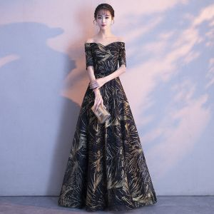 Chic / Beautiful Black Gold Evening Dresses  2018 A-Line / Princess Off-The-Shoulder 1/2 Sleeves Glitter Rhinestone Bow Sash Floor-Length / Long Ruffle Backless Formal Dresses