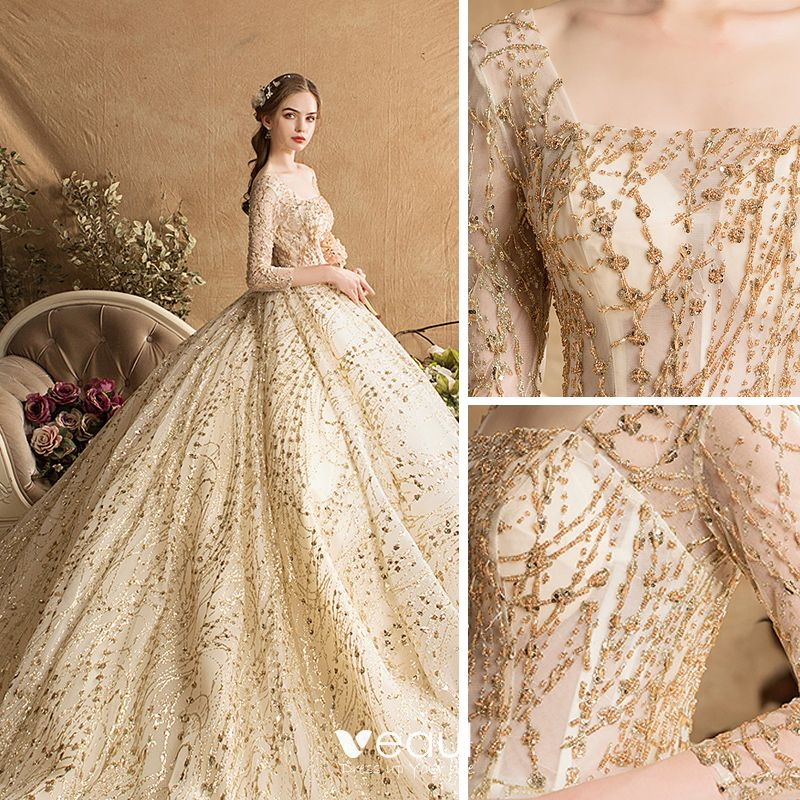 Luxury Gorgeous Gold Wedding Dresses 2019 Ball Gown Square Neckline Glitter Tulle Beading Sequins Crystal 3
