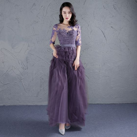 Elegant Grape Prom Dresses 2017 Scoop Neck 1/2 Sleeves Appliques Lace Sash Ruffle Tulle Floor-Length / Long Formal Dresses