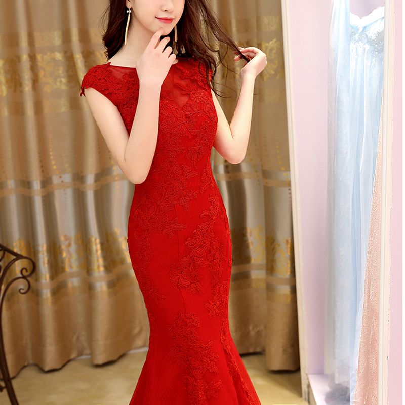 Sexy Trumpet / Mermaid 2017 Red Pearl Pink Red Crossed Straps Ankle Strap Lace Scoop Neck Casual Cocktail Party Evening Party Summer Sleeveless Evening Dresses