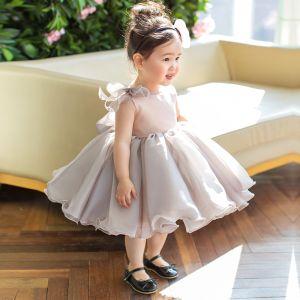 Eleganckie Szary Organza Urodziny Sukienki Dla Dziewczynek 2020 Księżniczki Wycięciem Bez Rękawów Krótkie Wzburzyć Sukienki Na Wesele