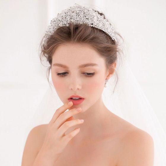 Lyx Kristall Flash Diamond Med Stor Krona Tiara / Bröllop Tiara