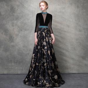 Luxe Noire Doré Robe De Soirée 2018 Princesse Cristal Brodé Percé Encolure Dégagée Dos Nu 3/4 Manches Longue Robe De Ceremonie