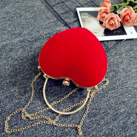 Fashion Red Velour Heart-shaped Clutch Bags 2020 Metal Accessories