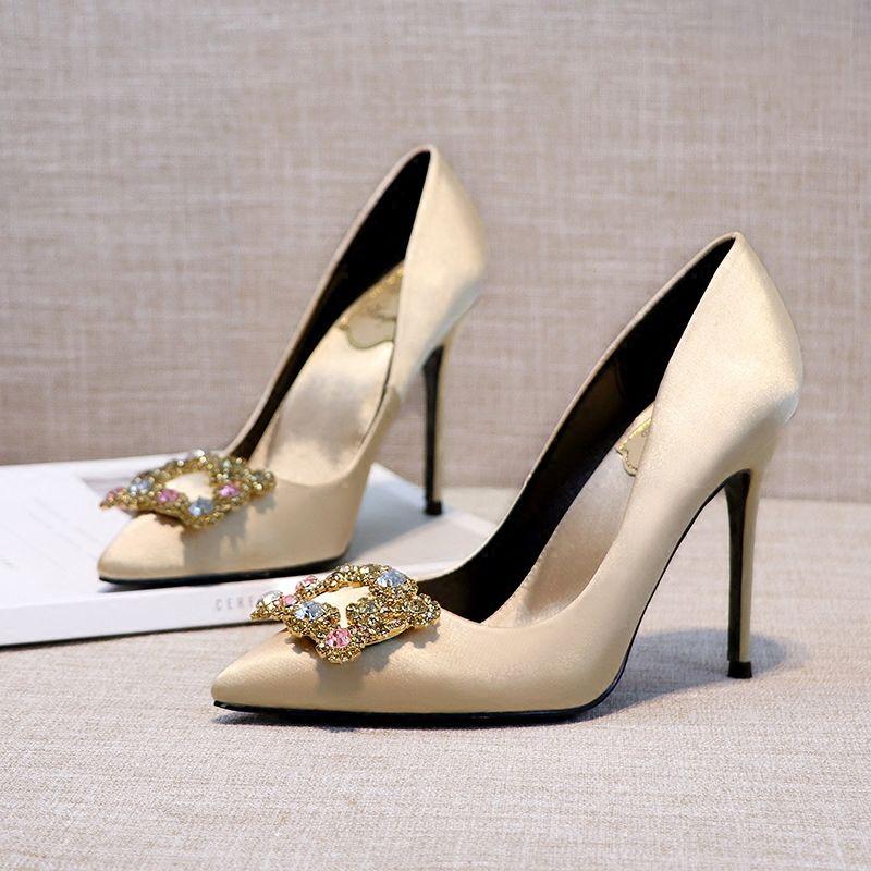 Chic / Beautiful 2017 8 cm / 3 inch Black Gold Red Casual Church Satin Chiffon Summer Rhinestone High Heels Stiletto Heels Pumps Wedding Shoes