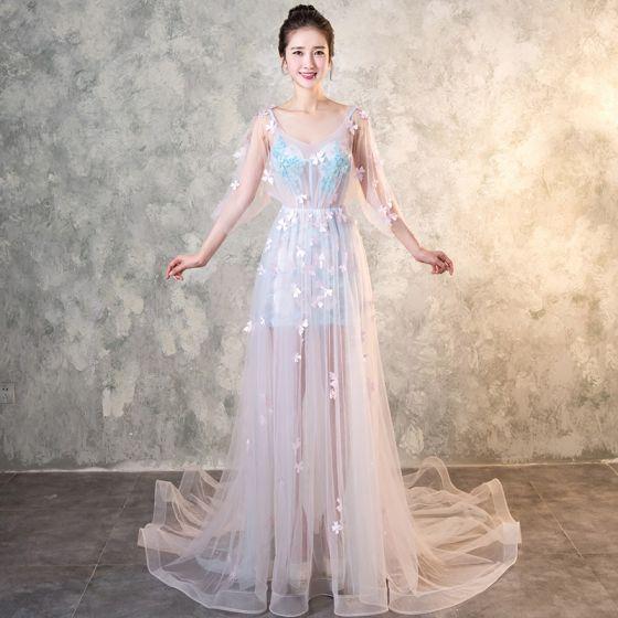 Eleganckie Błękitne Przebili Sukienki Wieczorowe 2017 Princessa V-Szyja 3/4 Rękawy Aplikacje Kwiat Frezowanie Trenem Kaplica Bez Pleców Sukienki Wizytowe