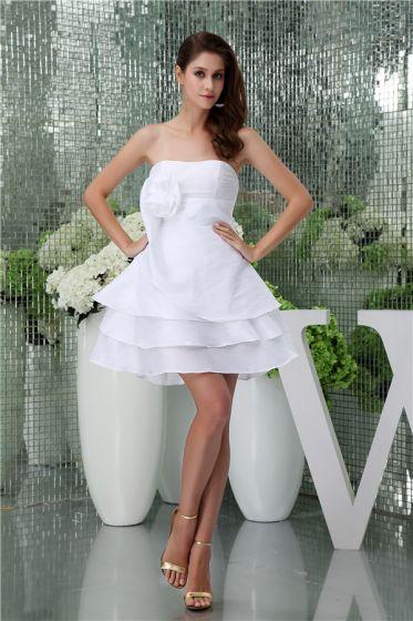 Simple A-line Strapless Handmade Flower Cascading Ruffles Short Wedding Dress Bridal Gown
