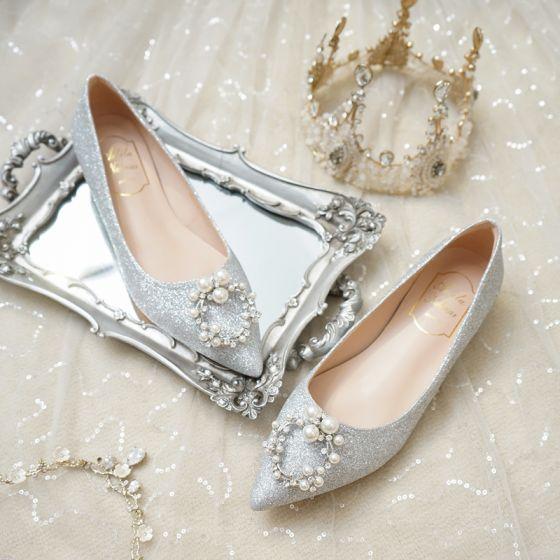 Mode Silber Flache Brautschuhe 2020 Perle Strass Pailletten Spitzschuh