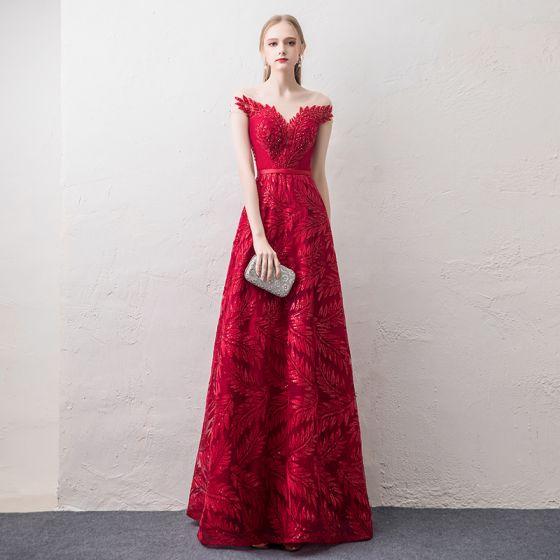 Stylowe / Modne Czerwone Przezroczyste Sukienki Wieczorowe 2018 Princessa Wycięciem Rękawy z Kapturkiem Cekinami Cekiny Frezowanie Aplikacje Z Koronki Szarfa Długie Wzburzyć Bez Pleców Sukienki Wizytowe