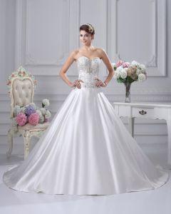 Alskling Satin Broderi Kapell A-line Brudklänningar Bröllopsklänningar