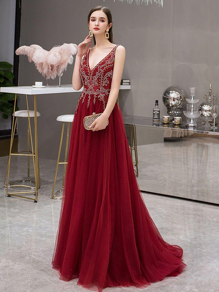 Elegant Burgundy Evening Dresses  2019 A-Line / Princess Deep V-Neck Sleeveless Rhinestone Beading Sweep Train Ruffle Backless Formal Dresses