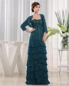 Sweetheart 3/4 Length Sleeve Zipper Beading Ruffle Floor Length Chiffon Mother of the Bride Dress