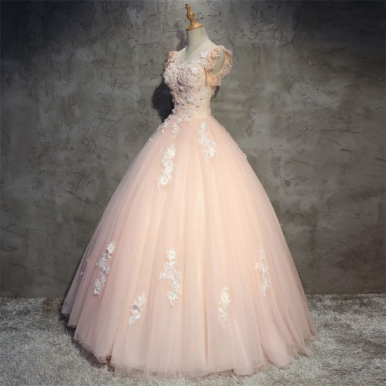 Chic / Beautiful Pearl Pink Prom Dresses 2018 Ball Gown Appliques Beading Scoop Neck Backless Sleeveless Floor-Length / Long Formal Dresses