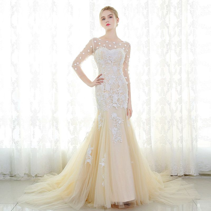 Romantic Champagne Wedding Dresses 2017 Trumpet / Mermaid 3/4 Sleeve Appliques Lace Flower Beading Crystal Ruffle Court Train