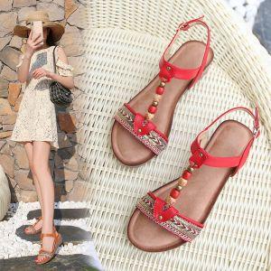 Vintage / Retro Bohemia Summer Red Beach Womens Sandals 2020 T-Strap 4 cm Wedges Low Heel Open / Peep Toe Sandals