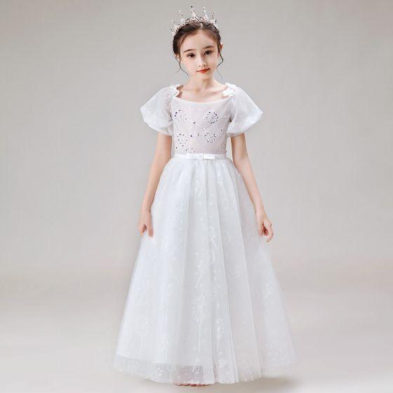 Estilo Victoriano Blanco Vestidos para niñas 2020 A-Line / Princess Scoop Escote Hinchado Manga Corta Sin Espalda Apliques Flor Rebordear Bowknot Cinturón Largos Ruffle