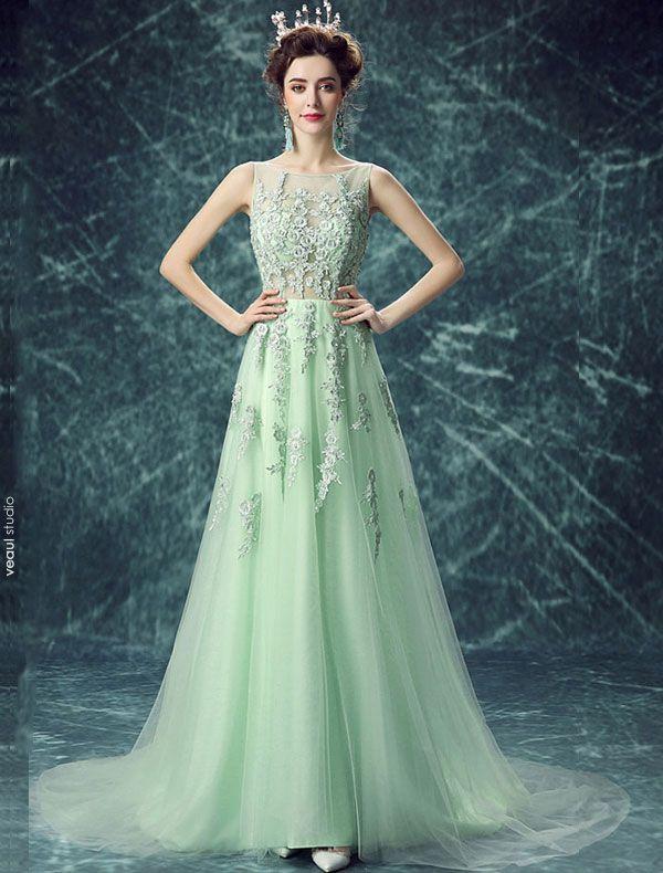 Reizvolles Abendkleid Der Spitze Lange Grüne Tüll Kleid Mit Blumen
