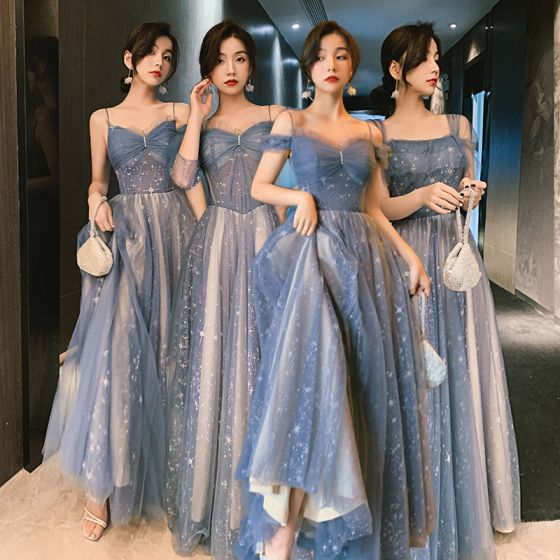 Charming Sky Blue Star Bridesmaid Dresses 2021 A-Line / Princess Spaghetti Straps Lace Sleeveless Backless Floor-Length / Long Bridesmaid Wedding Party Dresses