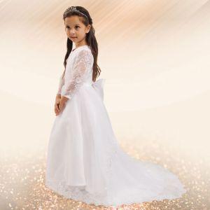 White Flower Girl Long Tail Spitzen Prinzessinnenkleid Wischt Den Boden Kommunionkleider