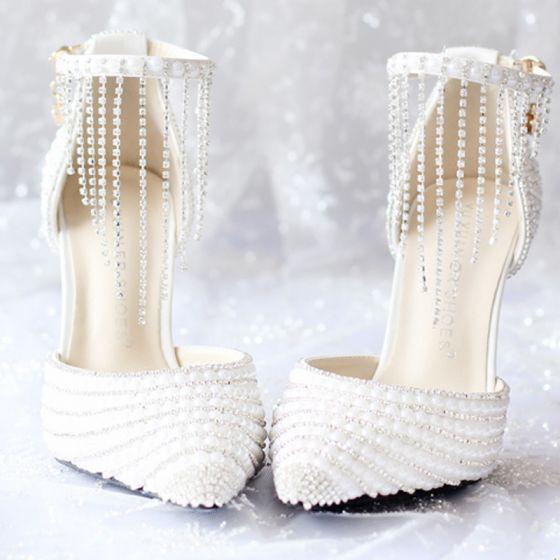 Chic / Beautiful White 2018 Wedding 9 cm Pointed Toe Prom Beading Crystal Rhinestone High Heels Stiletto Heels Wedding Shoes
