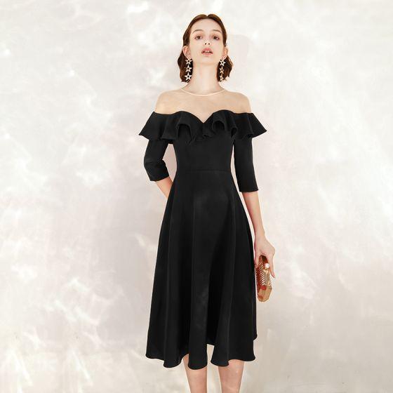 Chic / Belle Noire Robe De Soirée 2020 Princesse Daim Encolure Dégagée 1/2 Manches Mi-Longues Robe De Ceremonie