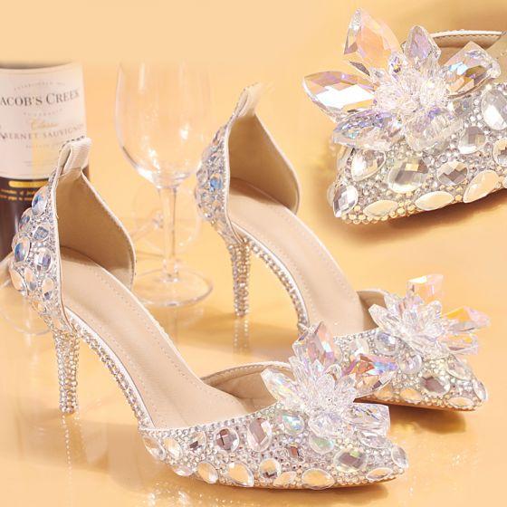 Fabulous Bling Bling White 8 cm Red Carpet Wedding Pumps Beading Crystal Rhinestone Stiletto Heels Wedding Shoes 2018