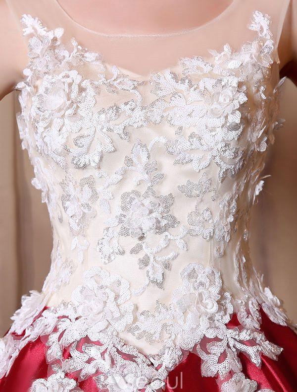 glamorous prom dresses 2017 scoop neckline applique sequins lace burgundy satin dress