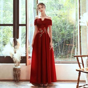 Chic / Beautiful Red Evening Dresses  2020 A-Line / Princess Off-The-Shoulder Short Sleeve Appliques Lace Beading Glitter Polyester Floor-Length / Long Ruffle Backless Formal Dresses