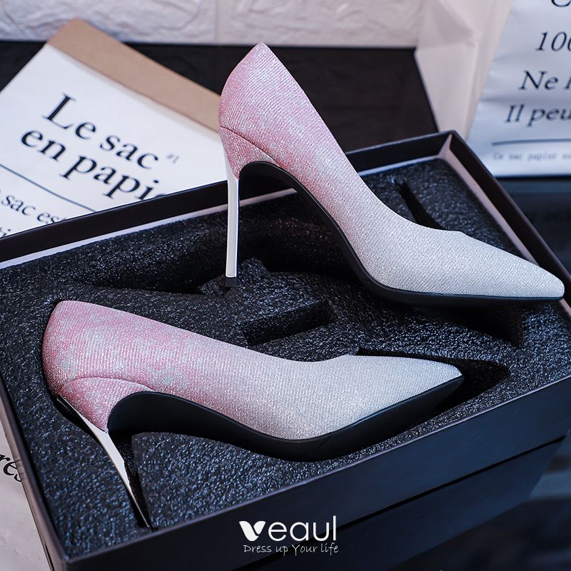 Chic / Beautiful Silver Wedding Shoes 2019 Sequins 10 cm Stiletto Heels Pointed Toe Wedding Pumps