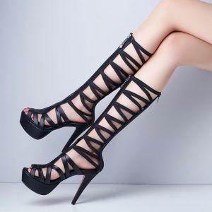 Mooie / Prachtige Toevallig Zwarte Dames Laarzen 2017 PU Strappy Plateau Hoge Haken Peep Toe Laarzen