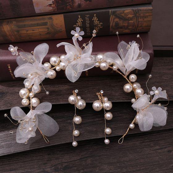 Blumenfee Ivory / Creme Brautschmuck 2020 Legierung Blumen Perlenstickerei Perle Ohrringe Kopfschmuck Haarschmuck Braut