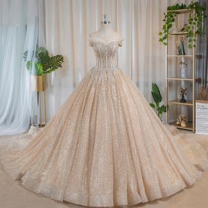 Luxury / Gorgeous Bling Bling Champagne Wedding Dresses 2019 Ball Gown Off-The-Shoulder Short Sleeve Backless Appliques Lace Beading Glitter Tulle Chapel Train Ruffle