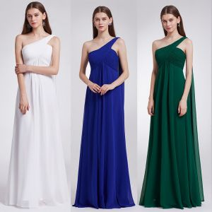 Modest / Simple Chiffon Bridesmaid Dresses 2019 Empire One-Shoulder Sleeveless Floor-Length / Long Ruffle Backless Wedding Party Dresses