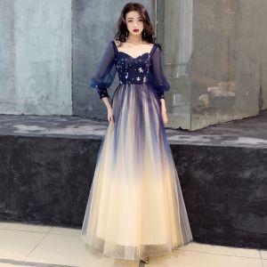 Eleganckie Granatowe Gradient-Kolorów Sukienki Na Bal 2019 Princessa Kwadratowy Dekolt Bufiasta 3/4 Rękawy Cekiny Długie Wzburzyć Bez Pleców Sukienki Wizytowe