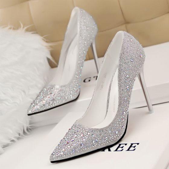 Hermoso Plata 2017 Zapatos De Mujer Oficina Rebordear Rhinestone Punta Estrecha High Heels