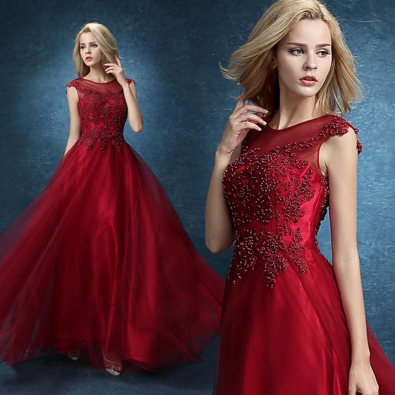 Chic / Beautiful Burgundy Prom Dresses 2018 Beading Lace Flower Formal Dresses