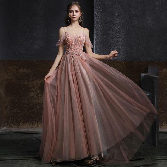 Eleganckie Różowy Perłowy Sukienki Wieczorowe 2020 Princessa Spaghetti Pasy Kótkie Rękawy Frezowanie Perła Długie Wzburzyć Bez Pleców Sukienki Wizytowe