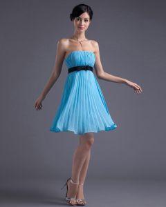 Moda Szyfonu Plisowana Uda Długosc Bez Ramiaczek Tanie Sukienki Koktajlowe Sukienki Wizytowe