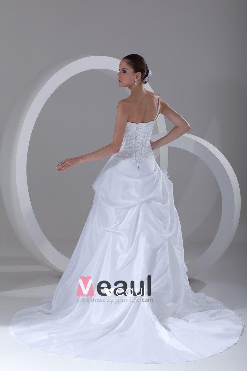 Taffeta Ruffle Flower Beads One Shoulder Court Train Ball Gown Women A Line Wedding Dress