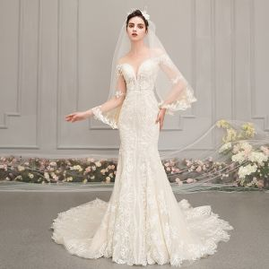 Best Champagne See-through Wedding Dresses 2019 Trumpet / Mermaid Scoop Neck Bell sleeves Backless Appliques Lace Beading Chapel Train Ruffle