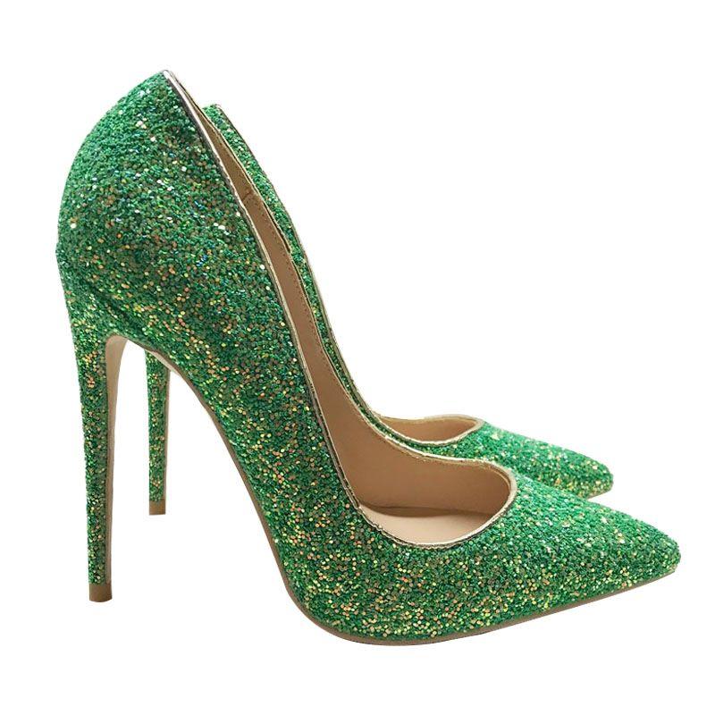 green glitter high heels